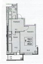 1-к квартира 45 кв.м. в ЖК Золотые купола